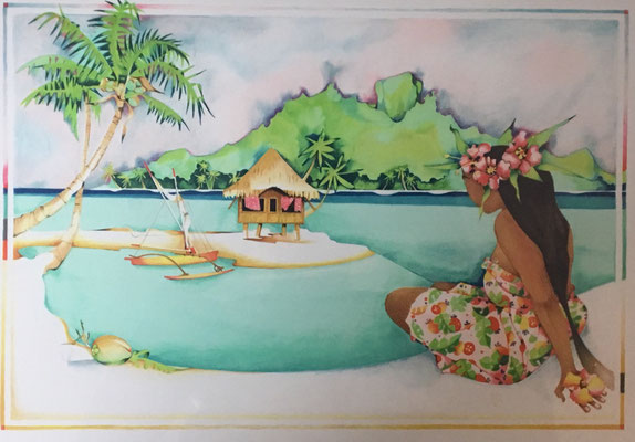 N°5 Vahine sur la plage Lithographie EA 34X42