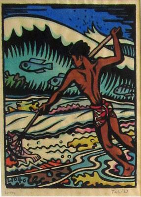 N°98 Pêcheur au harpon 1946 Estampe sur bois aquarellée 18X13