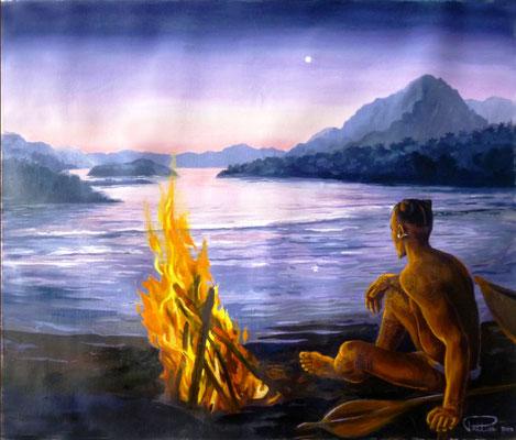 N°16 Coucher de soleil à Hiva Oa 34x40 Huile sur toile