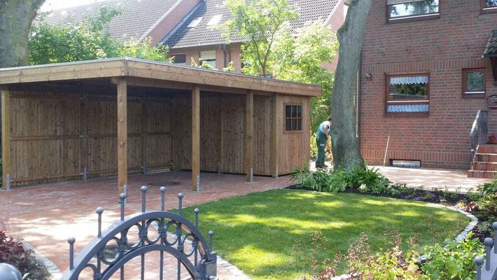 Neugestaltung Carportanlage mit Geräteschuppen | Garten- und Landschaftsbau Garber