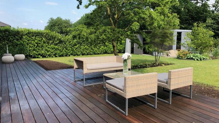 Terrasse aus Bambus mit Beleuchtung | Garten- und Landschaftsbau Garber