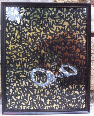 I am not a criminal - ODEG - 67cm*47cm - Technique mixte sur papier doré - 2012