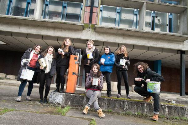 Carole, Fiona, Zakary, Emma, MaËlys, Cécile, Lea et Margot et moi même sur la route du retour