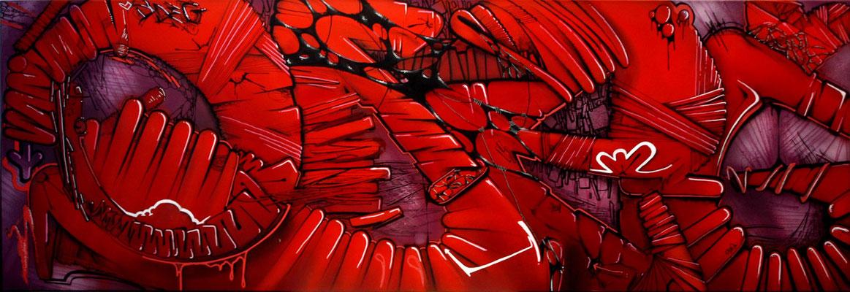 Rouge Odeg - ODEG - 150cm*50cm - Aérosol et stylo peinture - 2012