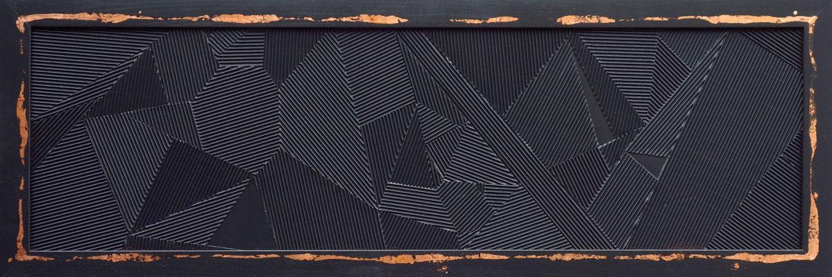 SHINING 4 - 150X52 cm - Placage sur bois et dorure cuivre - Odeg - 2016