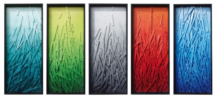 Série Élévation- 5x 110x50cm - bois aérosol sous verre - Odeg - 2015