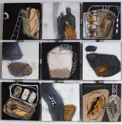 Gedankensprünge Naturpigmente | 9 Bilder á 30 x 30 cm