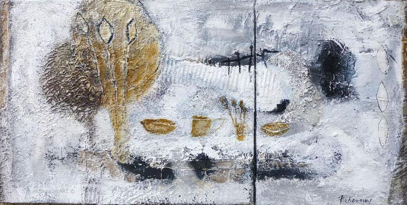 Picnic am Fluss-Diptychon | 40 x 80 cm