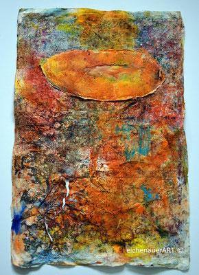 Farbenspiel auf Seidelbastpapier | 50 x 70 cm