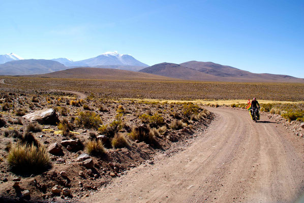 Riding through Parque National Lauca, Chile.