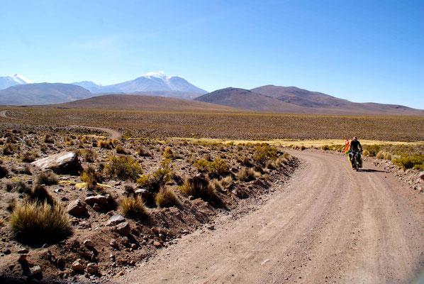 Riding through Parque National Lauca, Chile.