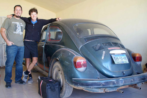 Sam and Luis with the VW Beatle.