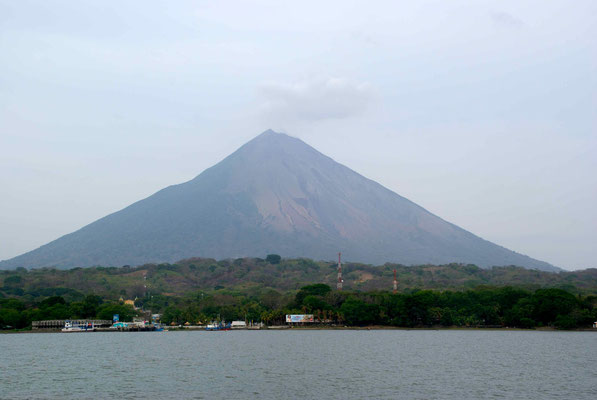 Arriving at Ometepe Island. Volcan Concepcion.