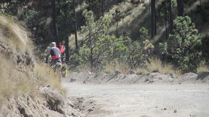 Sam riding downhill.