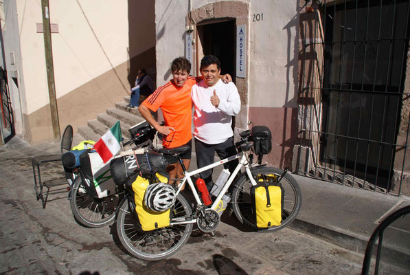 Luis showed us the way to the hostel in Zacatecas. Mucho gracias.