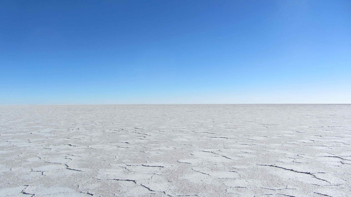 Salar Coipasa is very white in comparison to Salar de Uyuni.