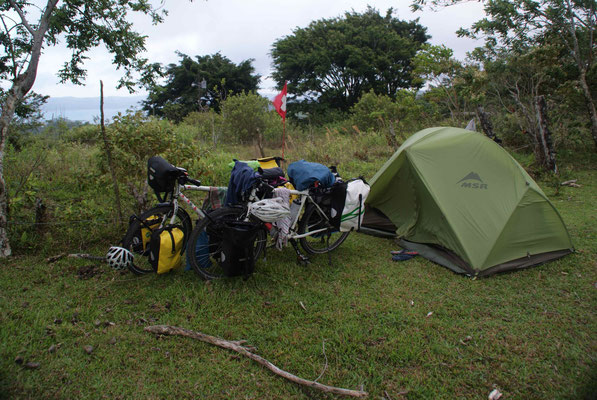 Camp on farmland somewhere in the hills of Arenal area.