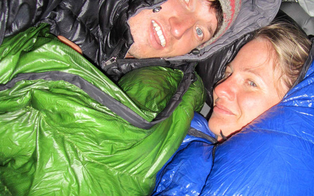 In the night it was very cold. Solution: good sleeping bags.