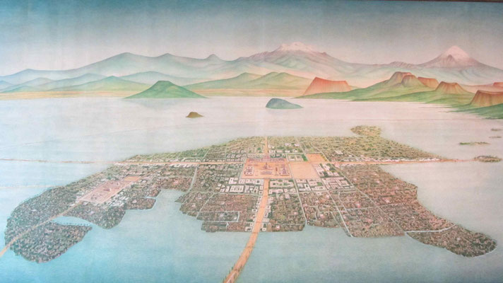 Mexico-Tenochtitlan: How Mexico City looks like before the colonial time.
