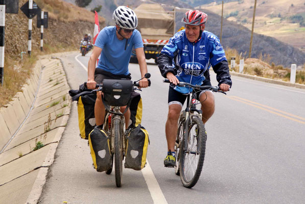 """In Huamachuco, we stayed with """"padre Miguel"""". He was very hospitable and rode about 25 km with us the next day!"""
