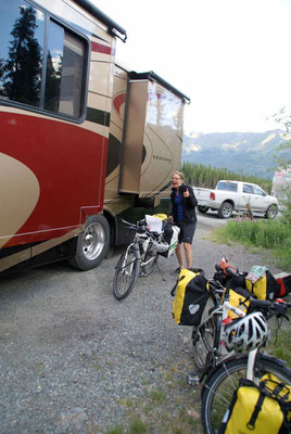 one night in motorhome, Pickandle Lake, Yukon