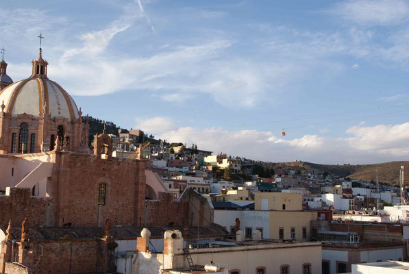 "View from the terrace of the nice hostel ""Villa Colonial"" in Zacatecas."