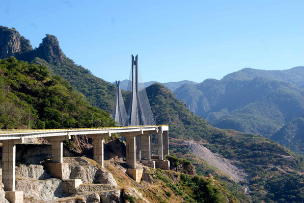 Baluarte bridge: the second highest bridge in the world, over 400 m high.