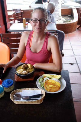 Sancocho. Traditional food. Rice, banana, salad, Soupe with yuka, chicken and other meats.