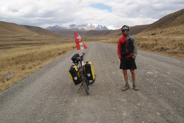 In the entrance of Parc National Huarascan. In the background the massive of Cordillera Blanca.