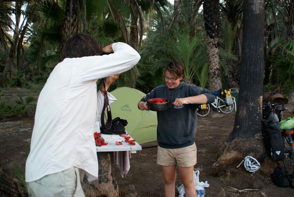 Florent and Marjo making Jam from the fruits of the cactus.