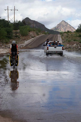 For the first time water on the road in San Javier.