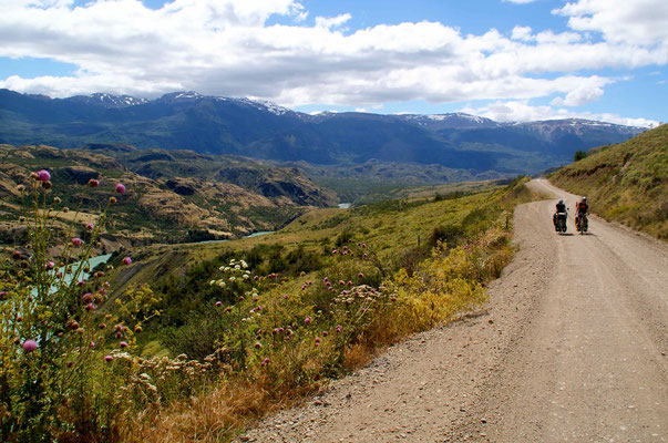 Sam and Carwyn riding through the beautiful landscape of Patagonia.