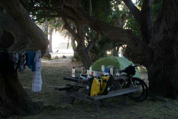 Campsite at Refugio State Beach. Nice place for a day off.
