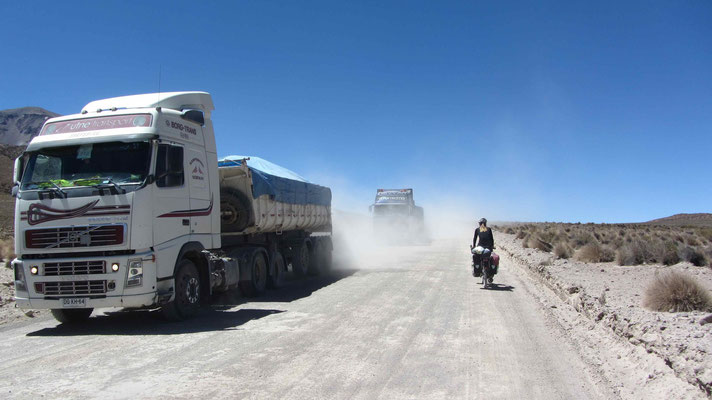 The next day we arrived at the highway towards the salt mine of Salar de Surire.