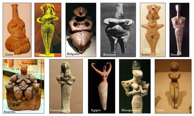 ESTATUILLAS FEMENINAS NEOLÍTICAS halladas en el espacio geográfico que antaño habitaron las culturas preindoeuropeas, desde la costa del Mar Atántico hasta el Valle del Indo (8.000 a.C.-1.500 a.C.).