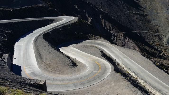 Nach dem Grenzübergang von Argentinien in Richtung Los Andes