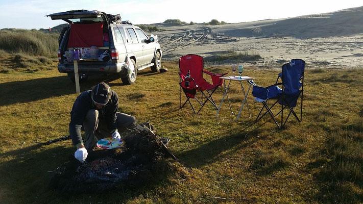 Camping in den Dünen.