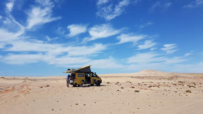 Übernachtung bei der Dune Blanche...