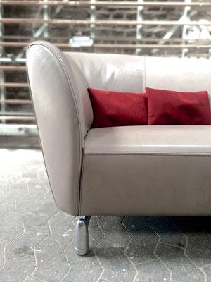 Farblich passende Zierkissen in ALCANTARA runden das neue Highlight in dem Wohnzimmer des Kunden ab.