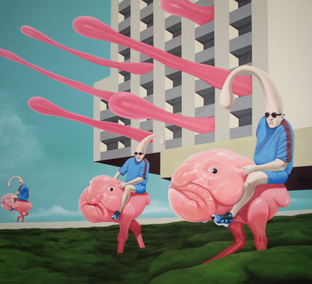 Auf zu frischen Taten, 2015, Öl auf Leinwand, 180 x 200 cm