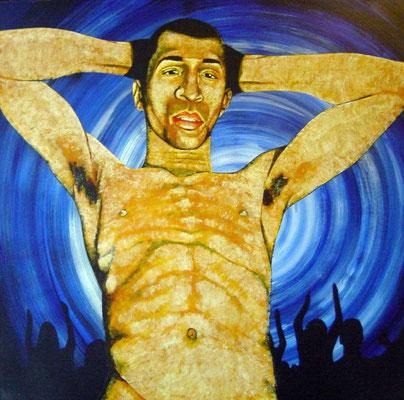 der Tänzer, 1998, Acrylic on Canvas, 80 x 80 cm