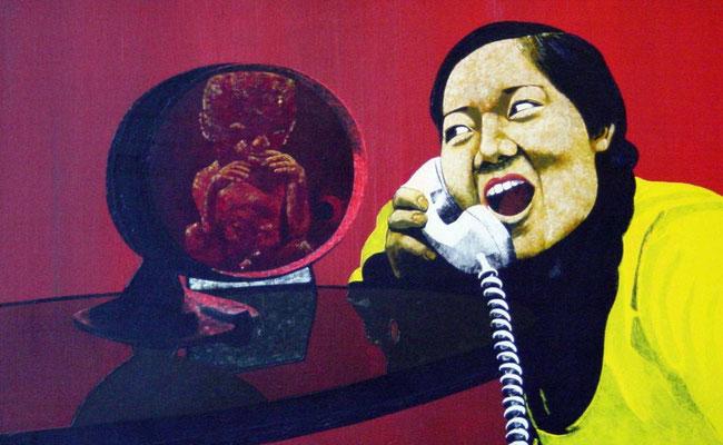 das Telefonat, 1998, Acrylic on Canvas, 50 x 80 cm