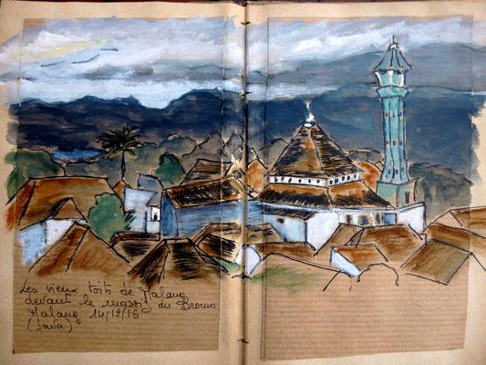 les vieux toits de Malang et le massif du Bromo dans les nuages