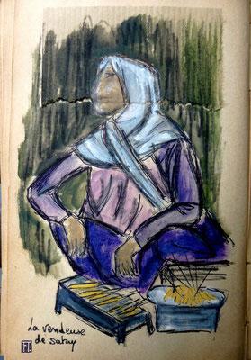 la marchande de satay (brochettes de poulet)