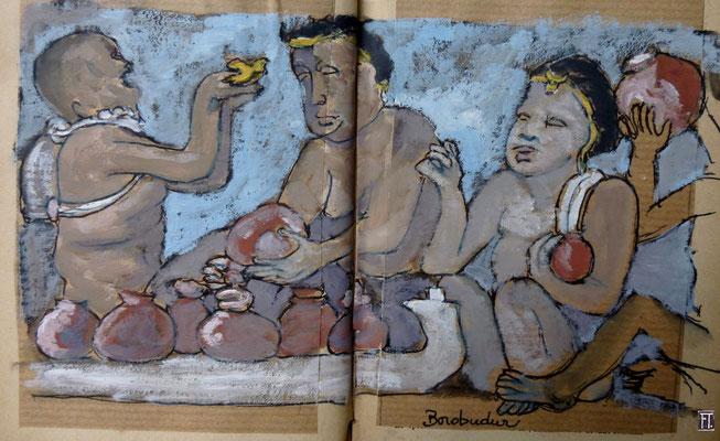 d'après une frise de Borobudur