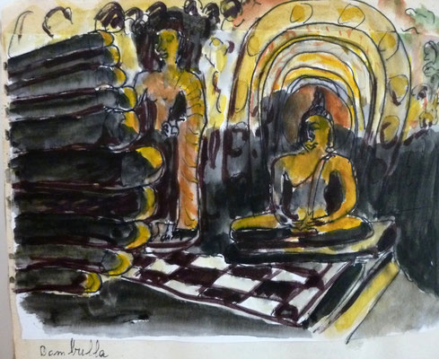dans les grottes saintes de Dambulla