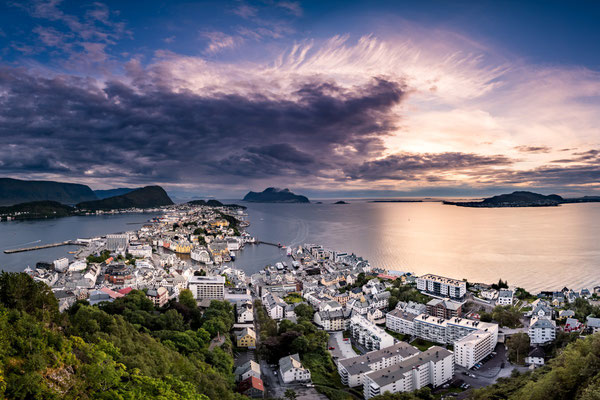 Beautiful sunset over the town of Alesund, Norway.