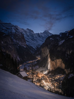 Famouse village Lauterbrunnen captured during the blue hour.