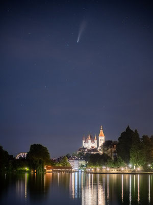 Comet Neowise high above the castle of Thun, Switzerland.