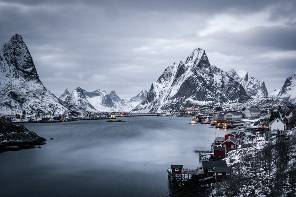 The cozy village Reine during a bad wheater day in winter.